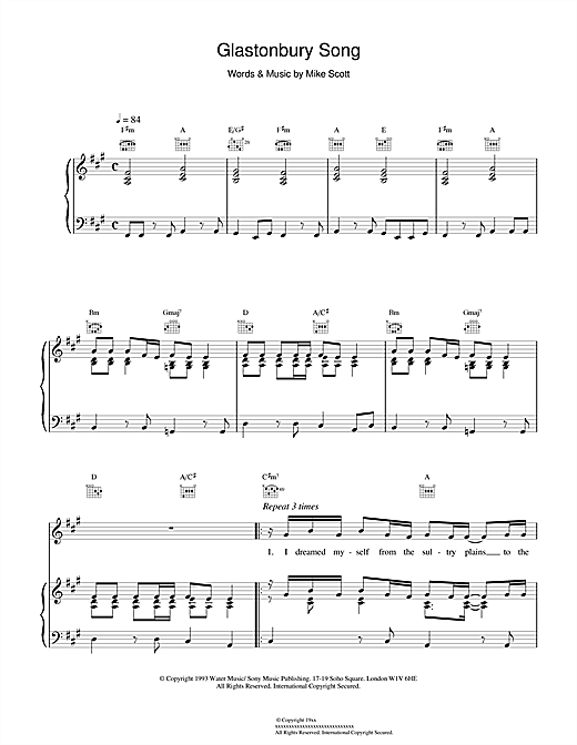 Waterboys Glastonbury Song sheet music notes and chords. Download Printable PDF.