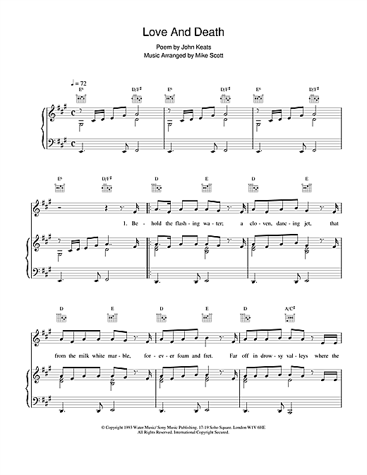Waterboys Love And Death sheet music notes and chords. Download Printable PDF.