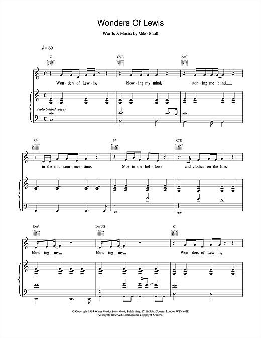 Waterboys Wonders Of Lewis sheet music notes and chords. Download Printable PDF.