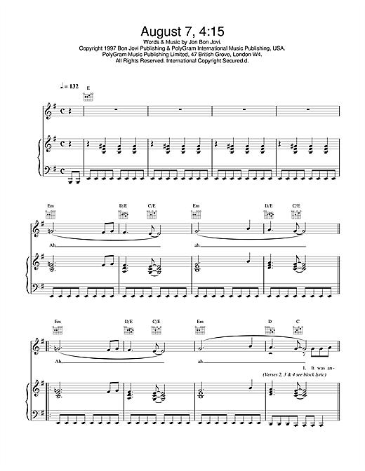 Jon Bon Jovi August 7, 4:15 sheet music notes and chords. Download Printable PDF.