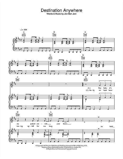 Jon Bon Jovi Destination Anywhere sheet music notes and chords. Download Printable PDF.