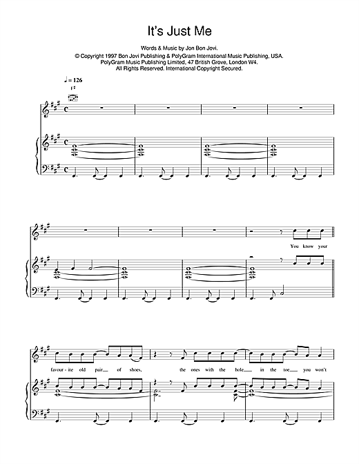 Jon Bon Jovi It's Just Me sheet music notes and chords. Download Printable PDF.