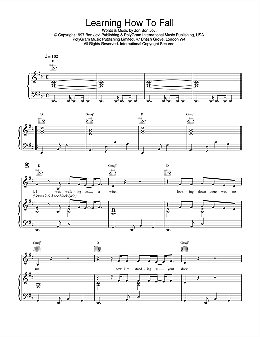 Jon Bon Jovi Learning How To Fall sheet music notes and chords. Download Printable PDF.