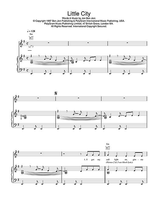 Jon Bon Jovi Little City sheet music notes and chords. Download Printable PDF.