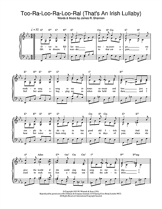 James R. Shannon Too-Ra-Loo-Ra-Loo-Ral (That's An Irish Lullaby) sheet music notes and chords. Download Printable PDF.