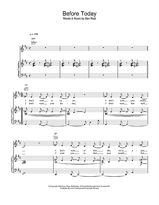 Everything But The Girl Before Today sheet music notes and chords. Download Printable PDF.