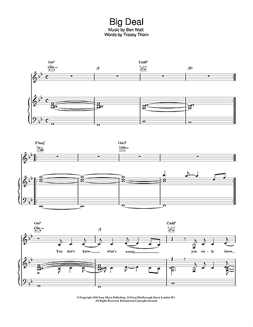 Everything But The Girl Big Deal sheet music notes and chords. Download Printable PDF.
