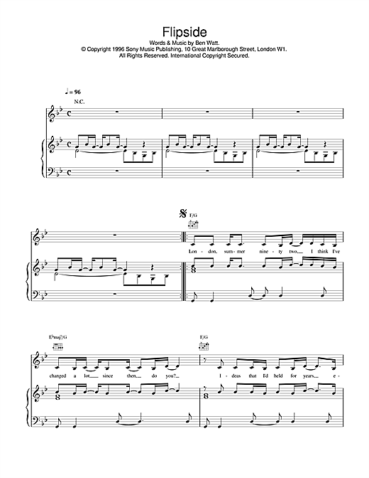 Everything But The Girl Flipside sheet music notes and chords. Download Printable PDF.