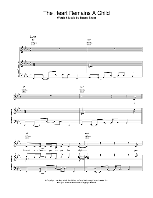 Everything But The Girl The Heart Remains A Child sheet music notes and chords. Download Printable PDF.
