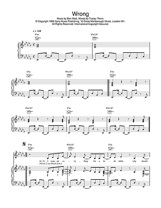 Everything But The Girl Wrong sheet music notes and chords. Download Printable PDF.