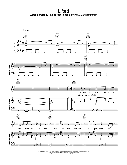 The Lighthouse Family Lifted sheet music notes and chords. Download Printable PDF.