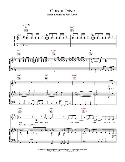 The Lighthouse Family Ocean Drive sheet music notes and chords. Download Printable PDF.