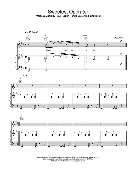 The Lighthouse Family Sweetest Operator sheet music notes and chords. Download Printable PDF.