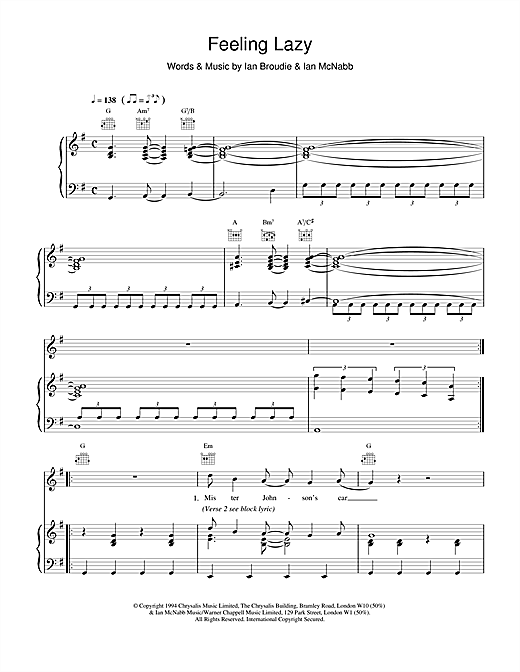 The Lightning Seeds Feeling Lazy sheet music notes and chords. Download Printable PDF.