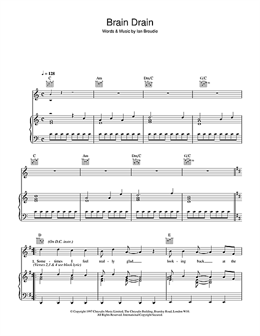 The Lightning Seeds Brain Drain sheet music notes and chords. Download Printable PDF.