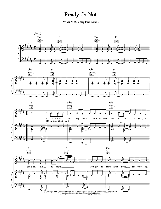 The Lightning Seeds Ready Or Not sheet music notes and chords. Download Printable PDF.