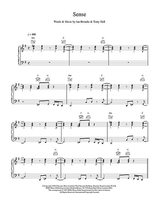 The Lightning Seeds Sense sheet music notes and chords. Download Printable PDF.