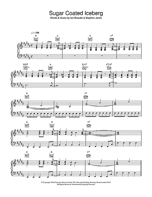 The Lightning Seeds Sugar Coated Iceberg sheet music notes and chords. Download Printable PDF.