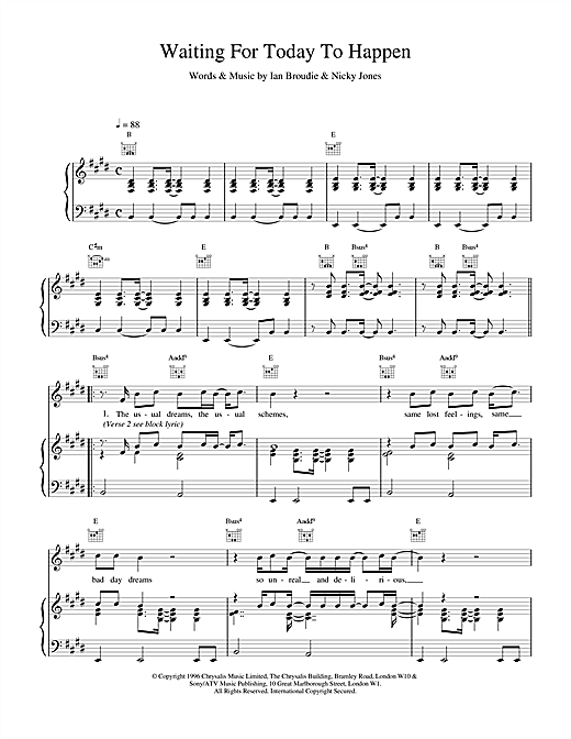 The Lightning Seeds Waiting For Today To Happen sheet music notes and chords. Download Printable PDF.