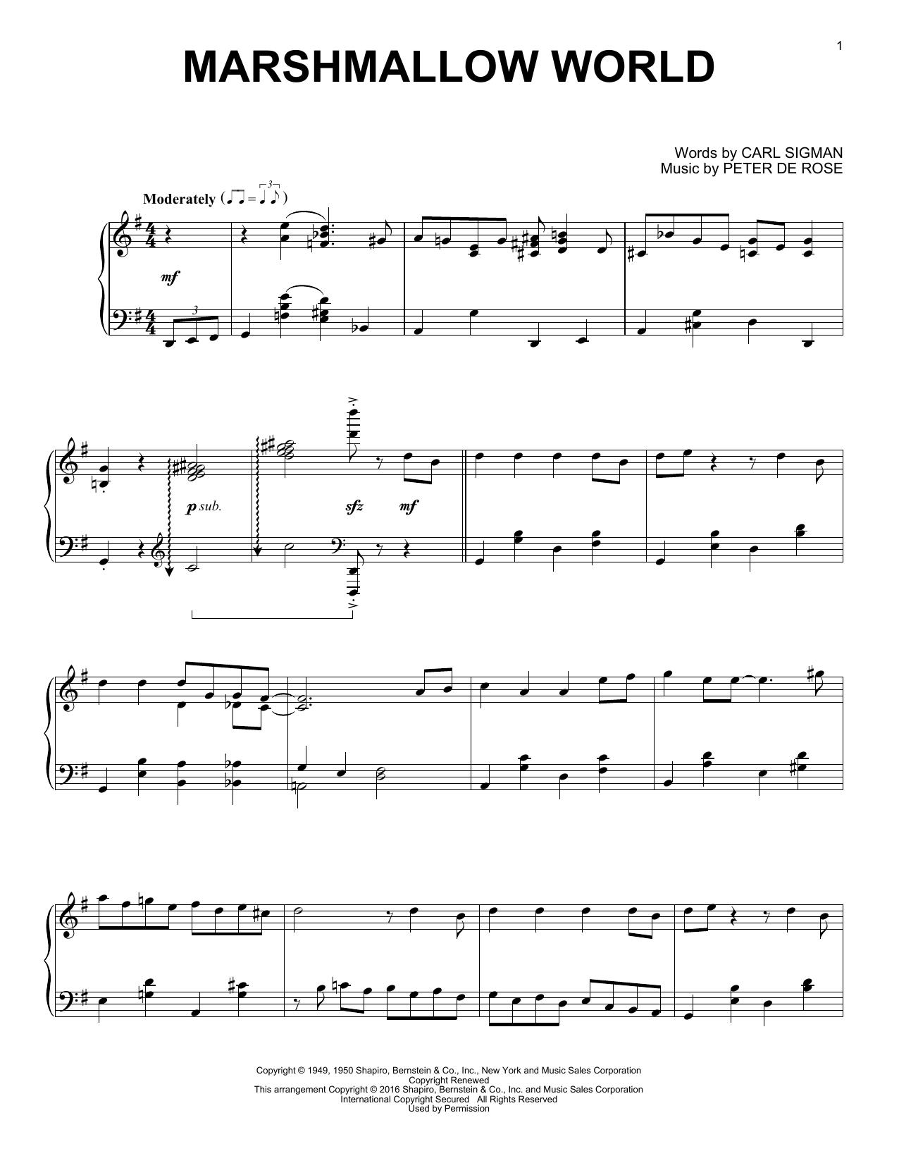 Carl Sigman A Marshmallow World sheet music notes and chords. Download Printable PDF.