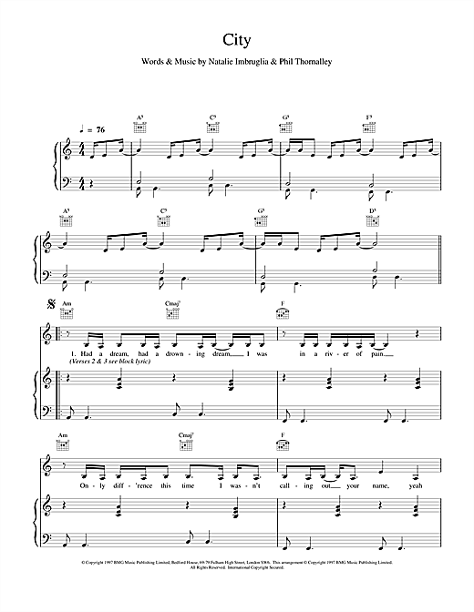 Natalie Imbruglia City sheet music notes and chords. Download Printable PDF.