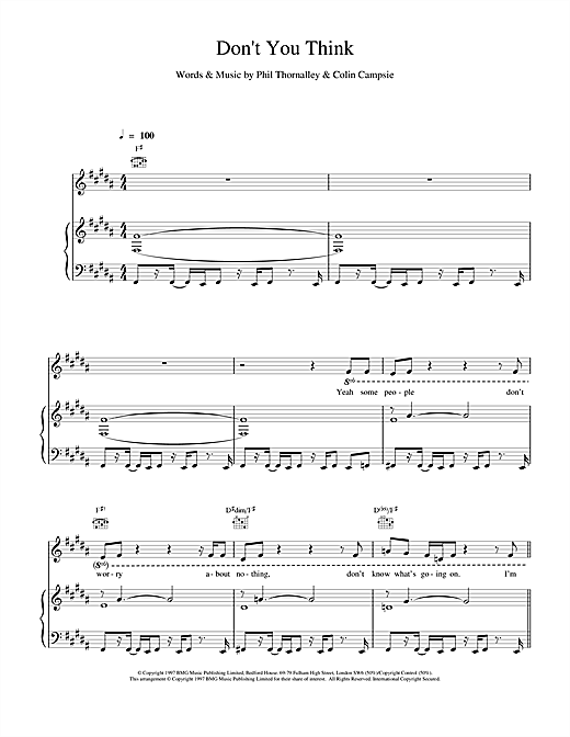 Natalie Imbruglia Don't You Think sheet music notes and chords. Download Printable PDF.