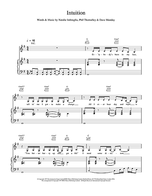 Natalie Imbruglia Intuition sheet music notes and chords. Download Printable PDF.