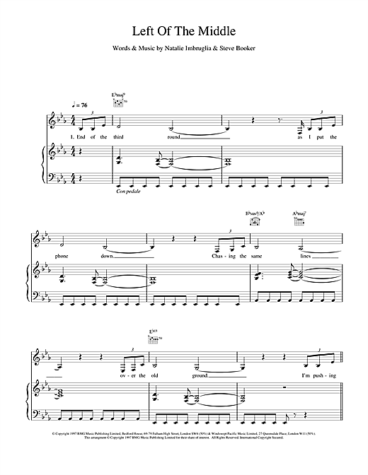 Natalie Imbruglia Left Of The Middle sheet music notes and chords. Download Printable PDF.
