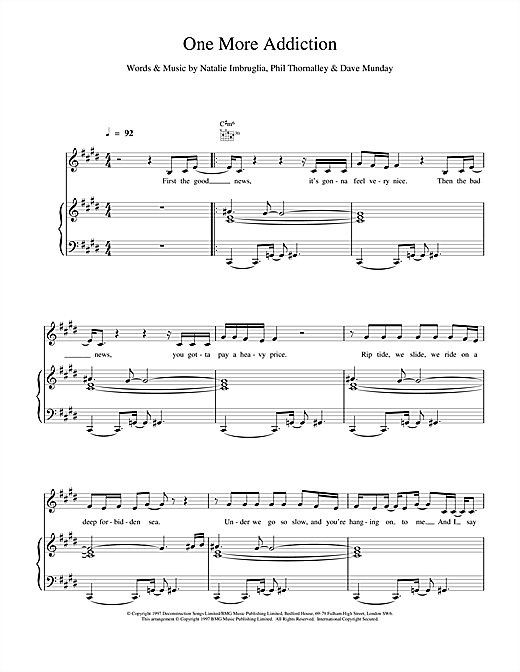 Natalie Imbruglia One More Addiction sheet music notes and chords. Download Printable PDF.
