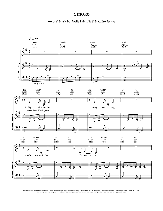 Natalie Imbruglia Smoke sheet music notes and chords. Download Printable PDF.