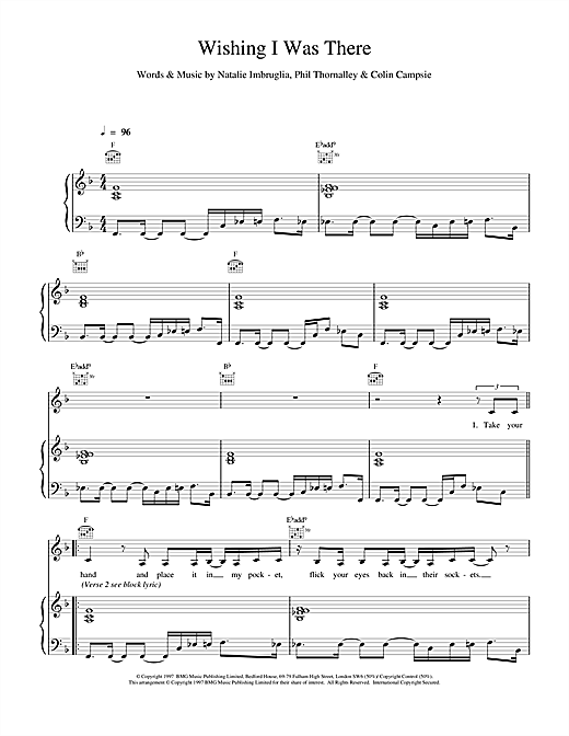 Natalie Imbruglia Wishing I Was There sheet music notes and chords. Download Printable PDF.
