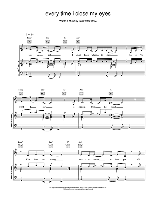 Backstreet Boys Every Time I Close My Eyes sheet music notes and chords. Download Printable PDF.