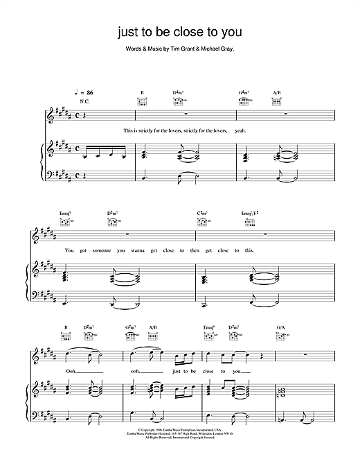 Backstreet Boys Just To Be Close To You sheet music notes and chords. Download Printable PDF.