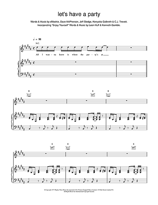 Backstreet Boys Let's Have a Party sheet music notes and chords. Download Printable PDF.