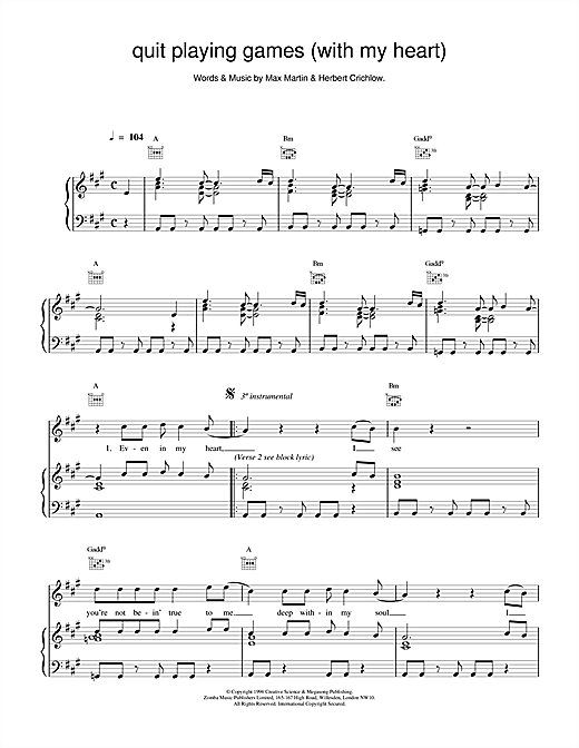 Backstreet Boys Quit Playing Games (With My Heart) sheet music notes and chords. Download Printable PDF.