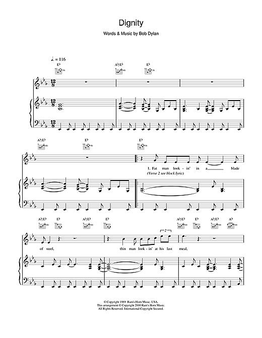 Bob Dylan Dignity sheet music notes and chords. Download Printable PDF.