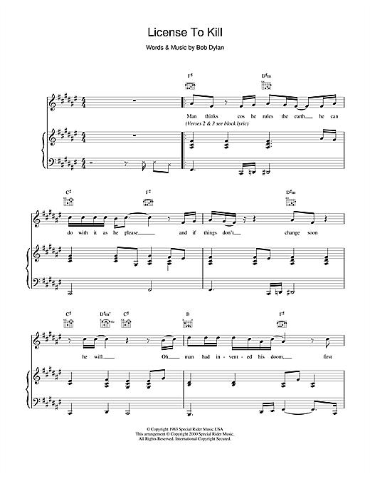 Bob Dylan License To Kill sheet music notes and chords. Download Printable PDF.