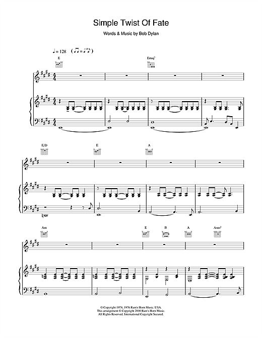 Bob Dylan Simple Twist Of Fate sheet music notes and chords. Download Printable PDF.