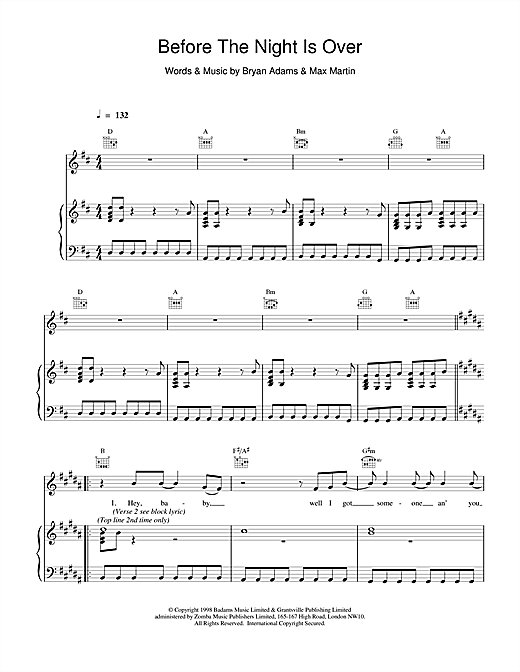 Bryan Adams Before The Night Is Over sheet music notes and chords. Download Printable PDF.