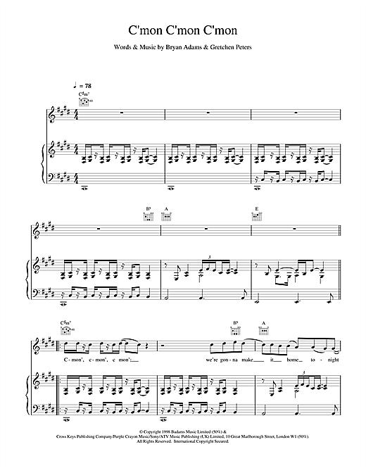 Bryan Adams C'mon C'mon C'mon sheet music notes and chords. Download Printable PDF.