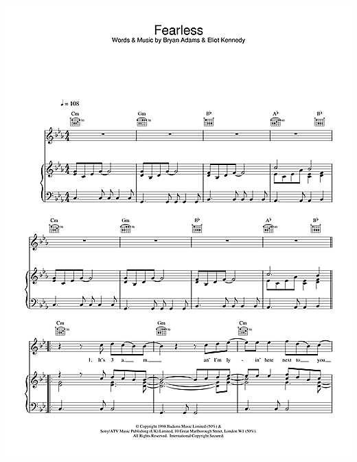 Bryan Adams Fearless sheet music notes and chords. Download Printable PDF.