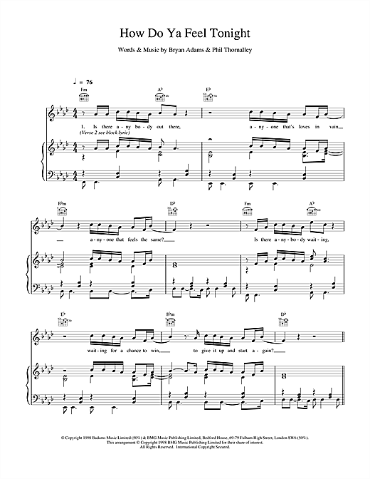 Bryan Adams How Do Ya Feel Tonight sheet music notes and chords. Download Printable PDF.