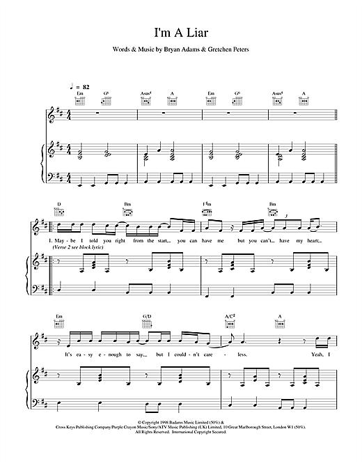 Bryan Adams I'm A Liar sheet music notes and chords. Download Printable PDF.