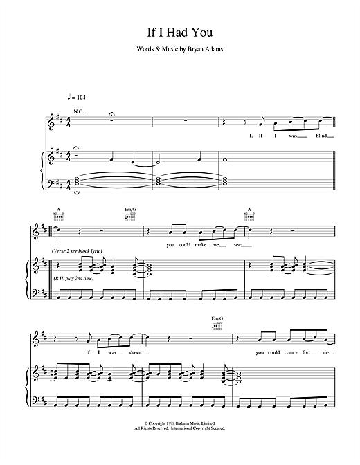 Bryan Adams If I Had You sheet music notes and chords. Download Printable PDF.