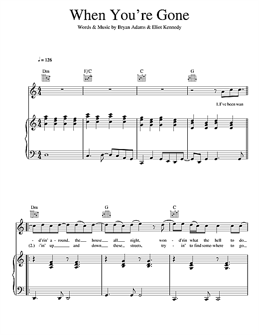 Bryan Adams and Melanie C When You're Gone sheet music notes and chords. Download Printable PDF.