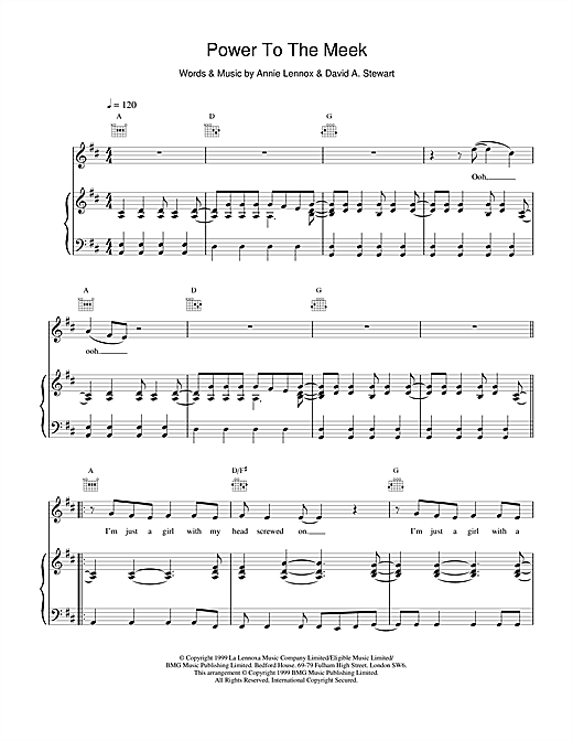 Eurythmics Power To The Meek sheet music notes and chords. Download Printable PDF.
