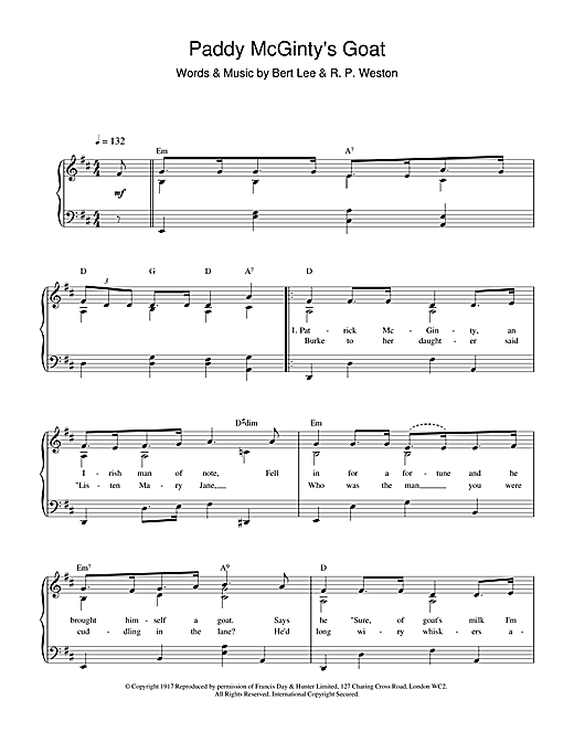 Bert Lee Paddy McGinty's Goat sheet music notes and chords. Download Printable PDF.