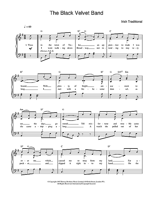 Irish Folksong The Black Velvet Band sheet music notes and chords. Download Printable PDF.