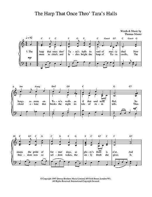 Thomas Moore The Harp That Once Thro Tara's Halls sheet music notes and chords. Download Printable PDF.
