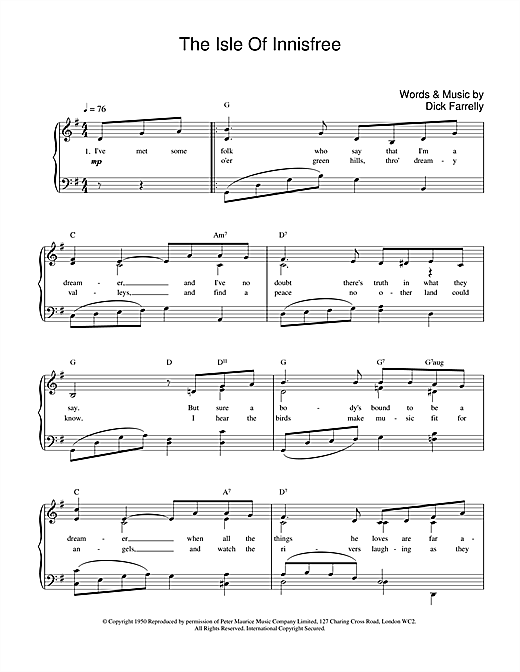 Dick Farrelly The Isle Of Innisfree sheet music notes and chords. Download Printable PDF.